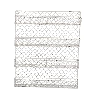 "DII Z01925 Farmhouse Vintage Metal Chicken Wire Organizer for Kitchen Wall, Pantry Or Cabinet, 17""x2.25""x21"", 4 Tier Spice Rack - White"