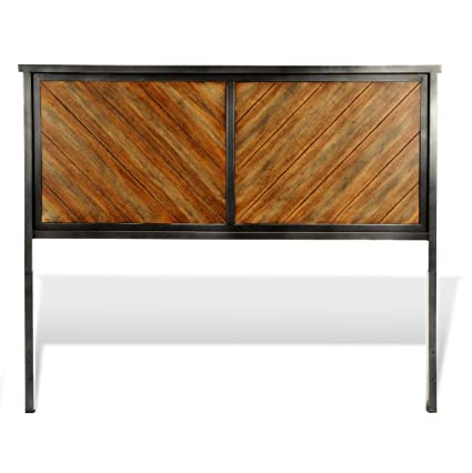 Fashion Bed Group Braden Metal Headboard Panel with Rustic Reclaimed Faux  Wood in Diagonal Pattern Frame, Rustic Tobacco Finish, King