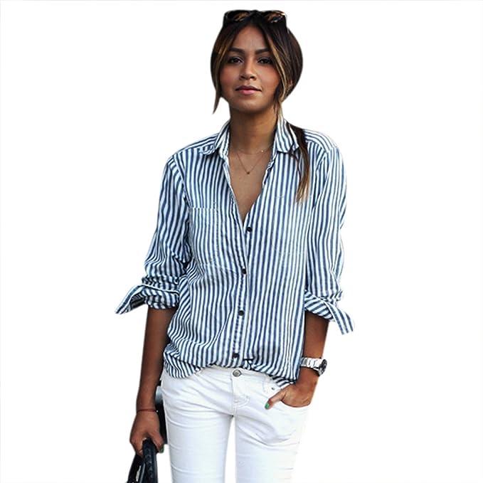 cooshional Camisa Mujer Casual Moda Elegante Rayado Vertical Cuello Turn-down Blusa Top