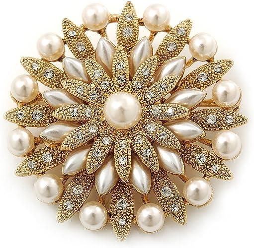 Broche vintage Estilo Floral para novia con perlas blancas simuladas y cristales Swarovski en capa con enchapado de oro