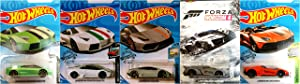 Hot Wheels Lamborghini 5 Car Set Bundle Includes Huracan Reventon Roadster Aventador J Veneno Version 4
