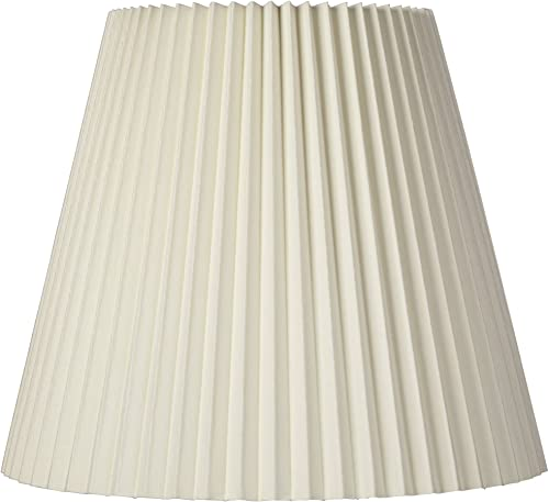 Ivory Pleated Lamp Shade Traditional Unlined with Harp 10x17x14.75 Spider – Brentwood