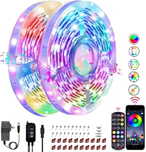 LED Strip Lights 65.6ft Smart LED Light Strip Music Sync Flexible LED Tape Lights with Remote Bluetooth App Controlled RGB Color Changing LED Strip Lights for Room Bedroom Kitchen Bar Home Decoration