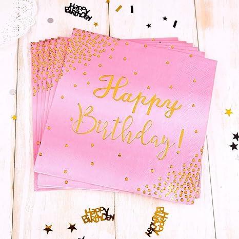 TUPARKA 20 Piezas Servilletas de feliz cumpleaños ...