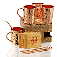 SOLID COPPER MUGS WITH COPPER STRAWS AND PINE WOOD COASTERS - PREMIUM QUALITY -16...