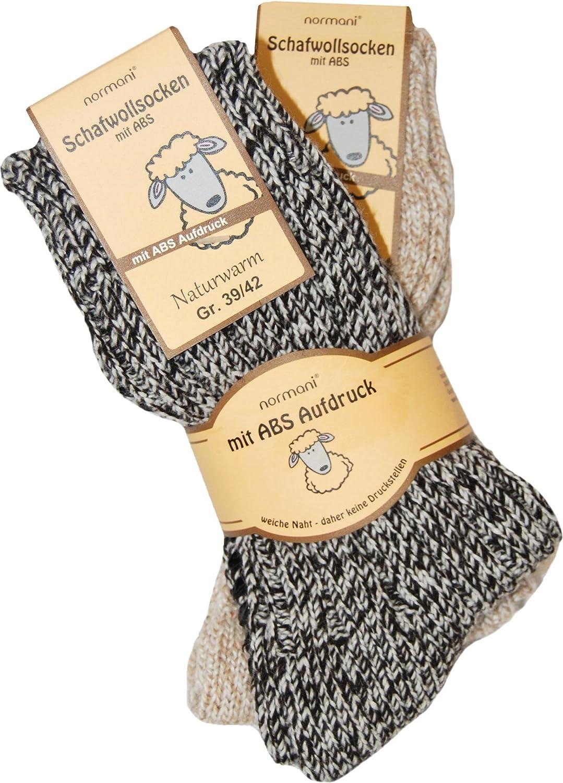 2 Paar Schafwollsocken mit ABS Haussocken mit Schafwolle