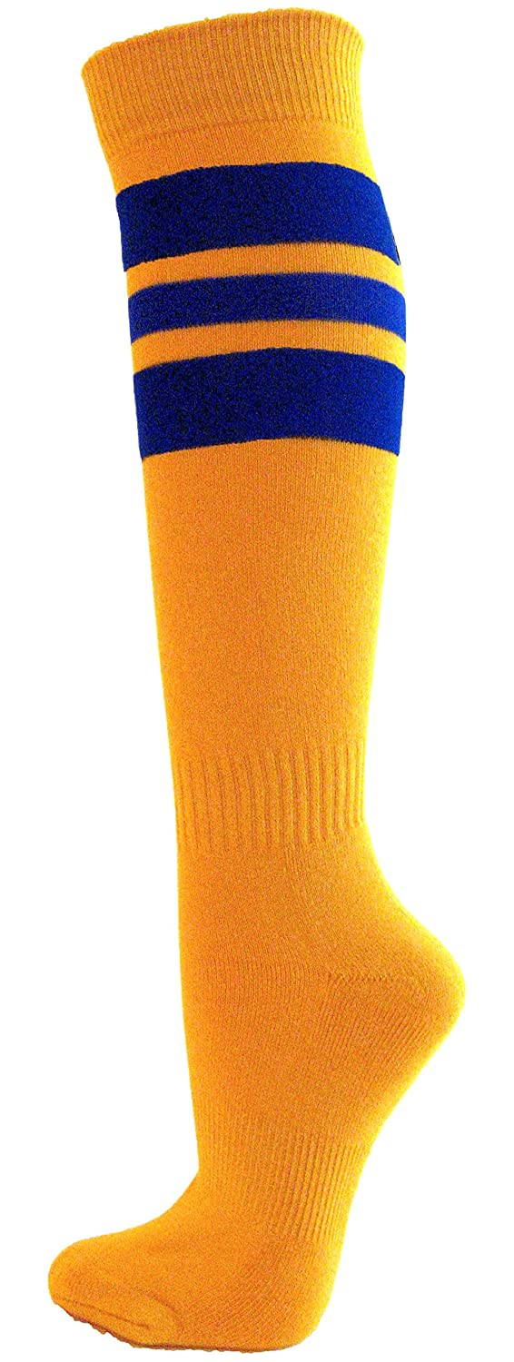 1 pair Couver Stripes on Gold Yellow Knee High Sports//Softball Socks