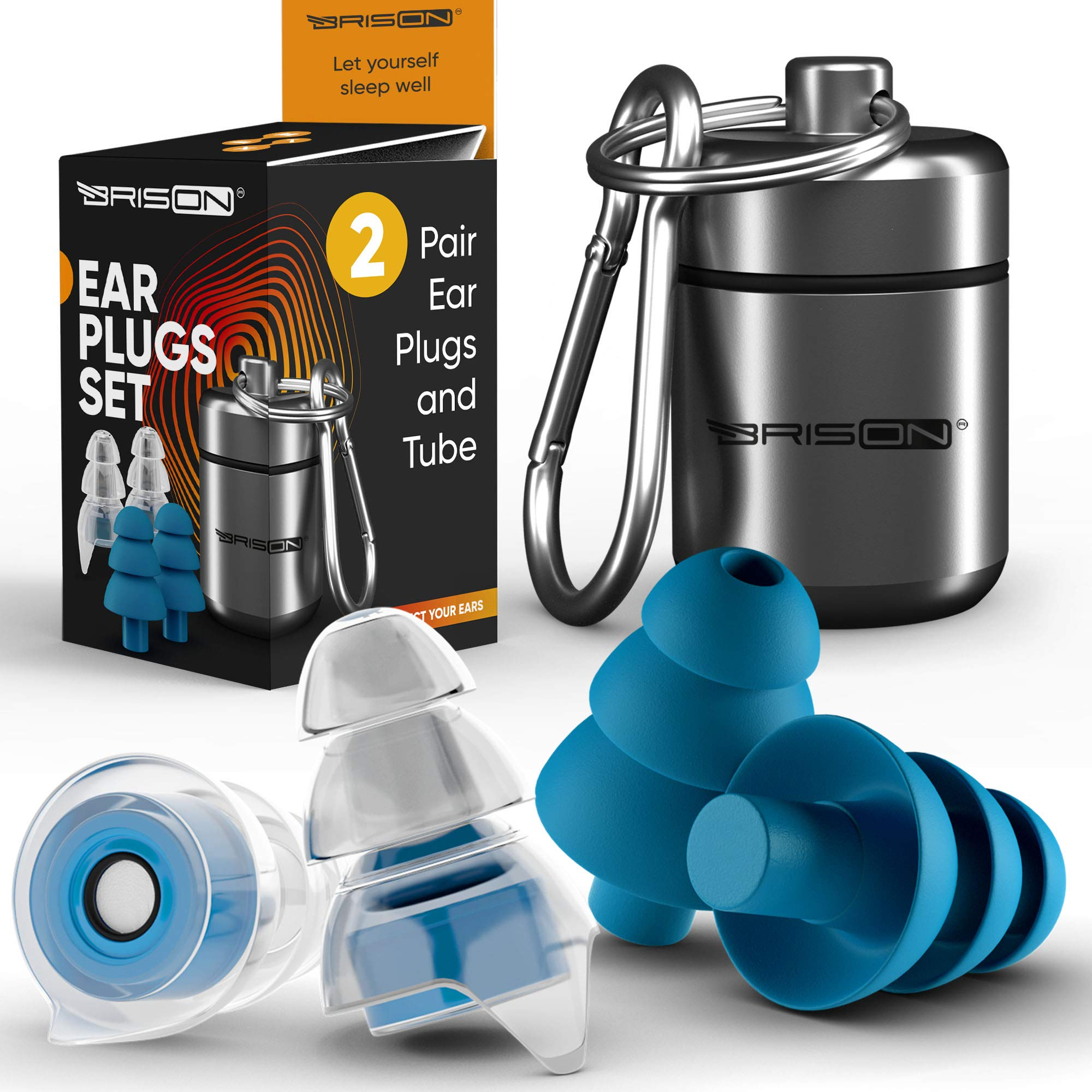 Noise Cancelling Ear Plugs for Sleeping [2 Pairs] Reusable Safe Silicone Earplugs Musicians Hearing Protection with High Fidelity Sound Reduction for Concerts Musicians Motorcycles Shooting Working by BRISON