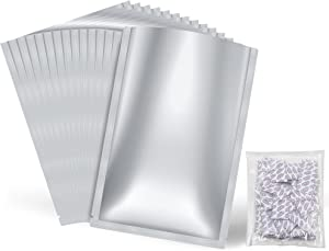 Ztalee 30 Pack 5 GALLON Mylar Bags (7.4 Mil) and 30x 2000cc Oxygen Absorbers, Airtight Vacuum Sealing Sealable Mylar Bags for Long Term Food Storage, for Grains, Wheat, Rice, Dry Aging Bags for Meat