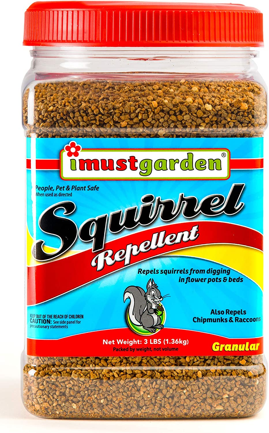 I Must Garden Squirrel Repellent - 3lb Granular - Stops Digging in Flower Pots & Beds