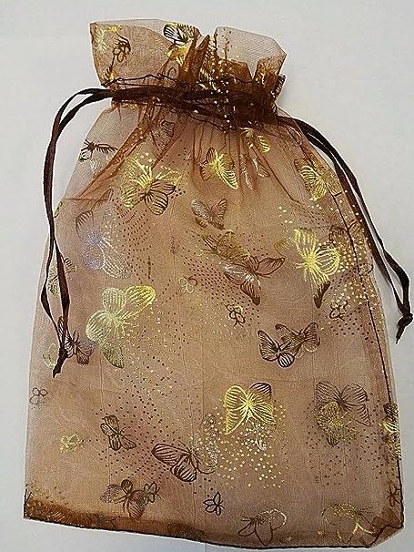 50/pcs Cordon de serrage en organza Motif papillon sachets cadeau de mariage Pochettes Sacs /à drag/ées Trousse /à bijoux 17/cm x 23.5/cm 22,9/x 17,1/cm