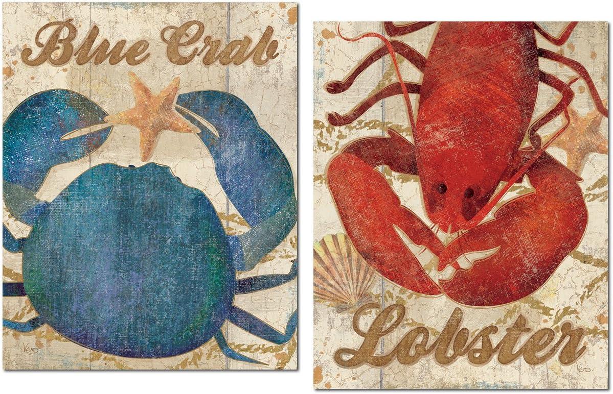 Coastal Decor Blue Sea Life CRABS LOBSTERS Prints set of 12 Beach Decor Wall Art