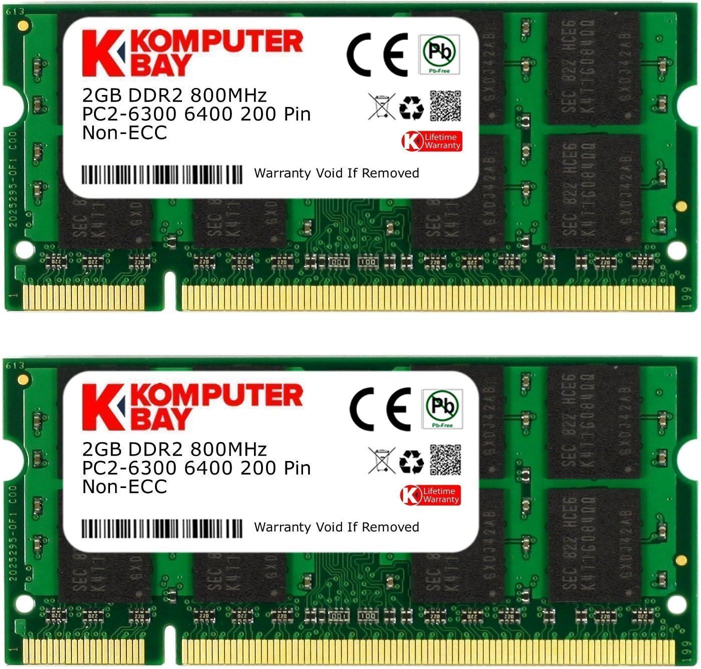 Crucial 4GB 2X 2GB Laptop Memory PC2-6400 DDR2 800Mhz 200pin SODIMM Notebook RAM