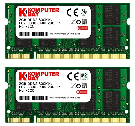 Komputerbay 4GB Kit (2GBx2) DDR2 800MHz (PC2-6400) CL6 SODIMM 200-Pin 1.8v Notebook Laptop Memory Modules with Lifetime Warranty Memory at amazon