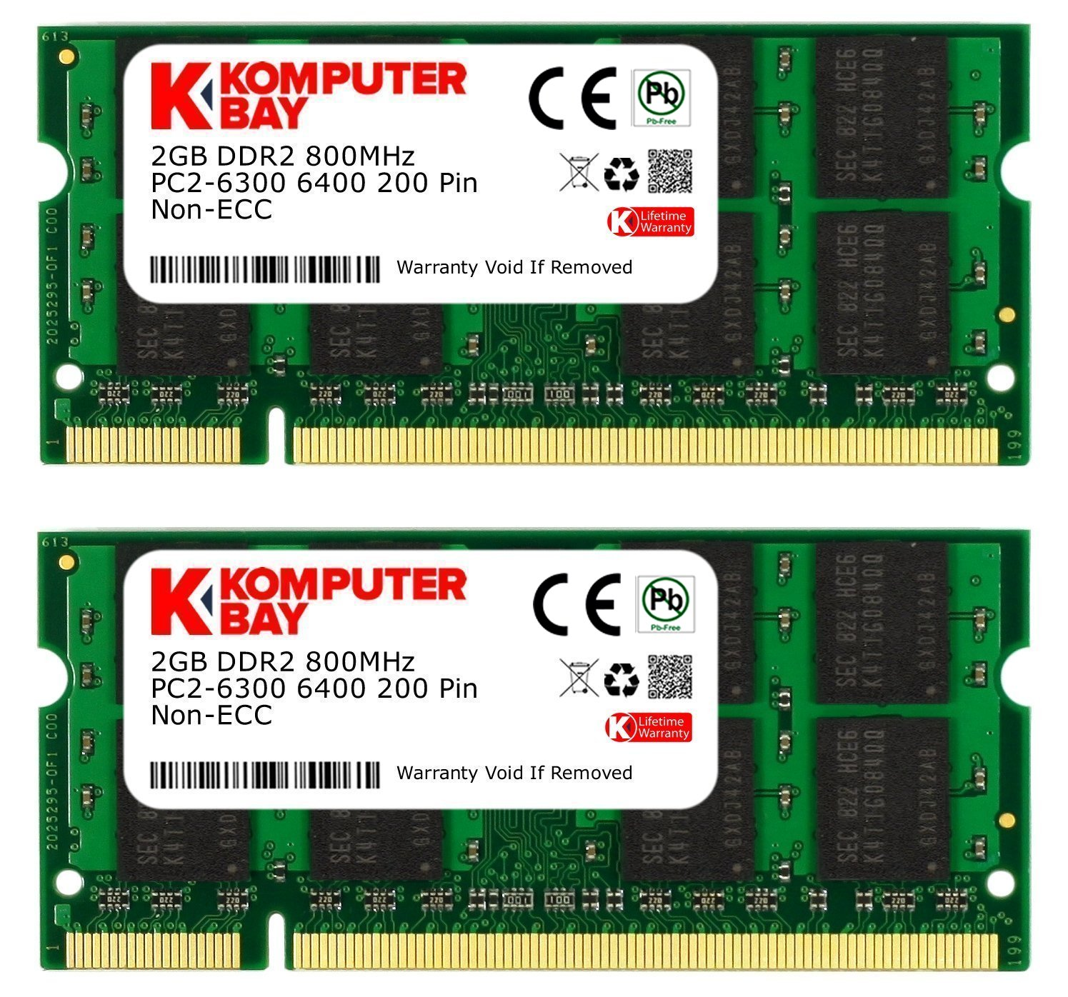 Memoria Ram 4gb Komputerbay Kit (2gbx2) Ddr2 800mhz (pc2-6400) Cl6 Sodimm 200-pin 1.8v Modules With Lifetime Warr