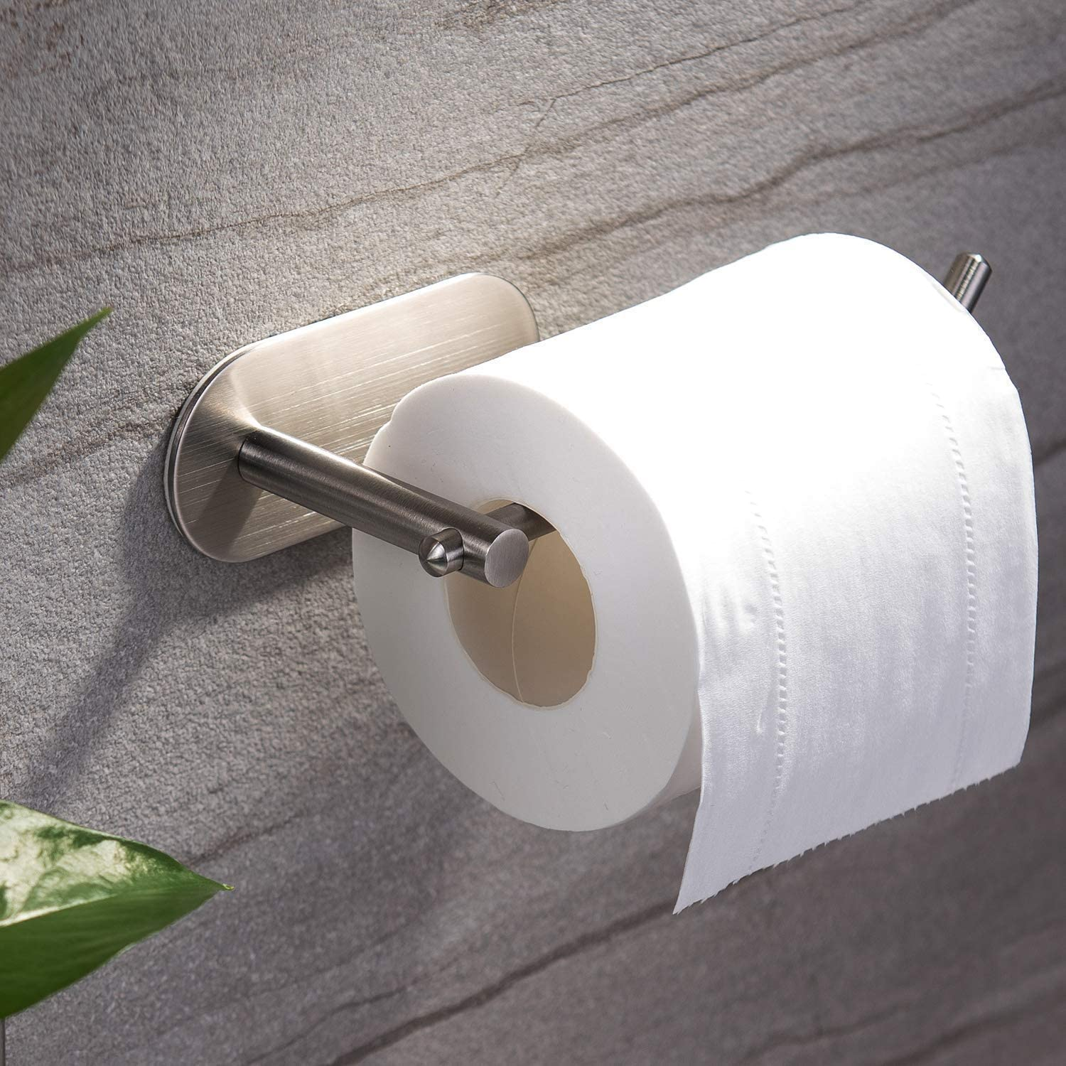 Toilet Paper Holders Self-Adhesive Toilet Roll Holder for Bathroom /& Kitchen Standing No Drilling Wall Mount Stainless Steel Black