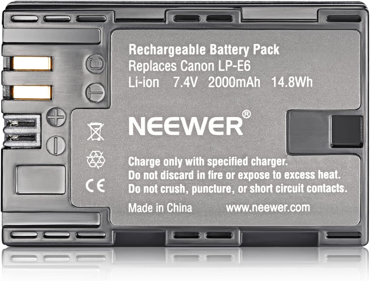 Neewer LP-E6 LP-E6N Battery Charger Rechargeable Batteries set Compatible with Canon 5D Mark II III IV 80D 70D 60D 6D EOS 5Ds 5D2 5D3 5DSR 5D4 and More 2-Pack 2000mAh, Dual USB and Type-C Input