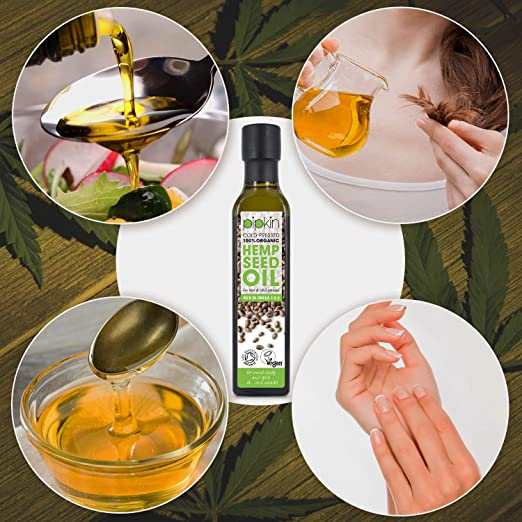 Amazon.com: Pipkin 100% Organic Hemp Seed Oil 250ml, Non-GMO ...