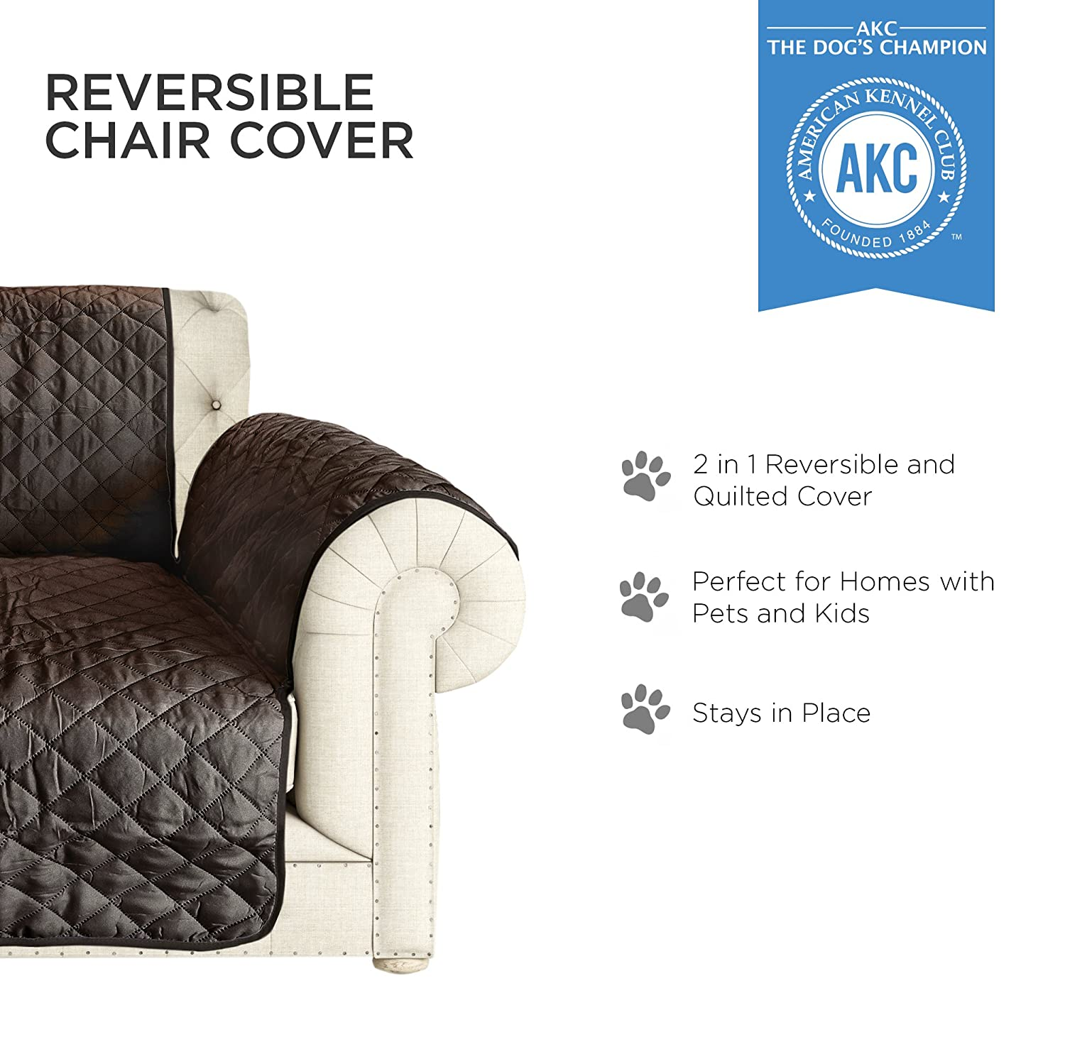 Amazon AKC Quilted Pet Chair Cover in Brown Tan Home & Kitchen