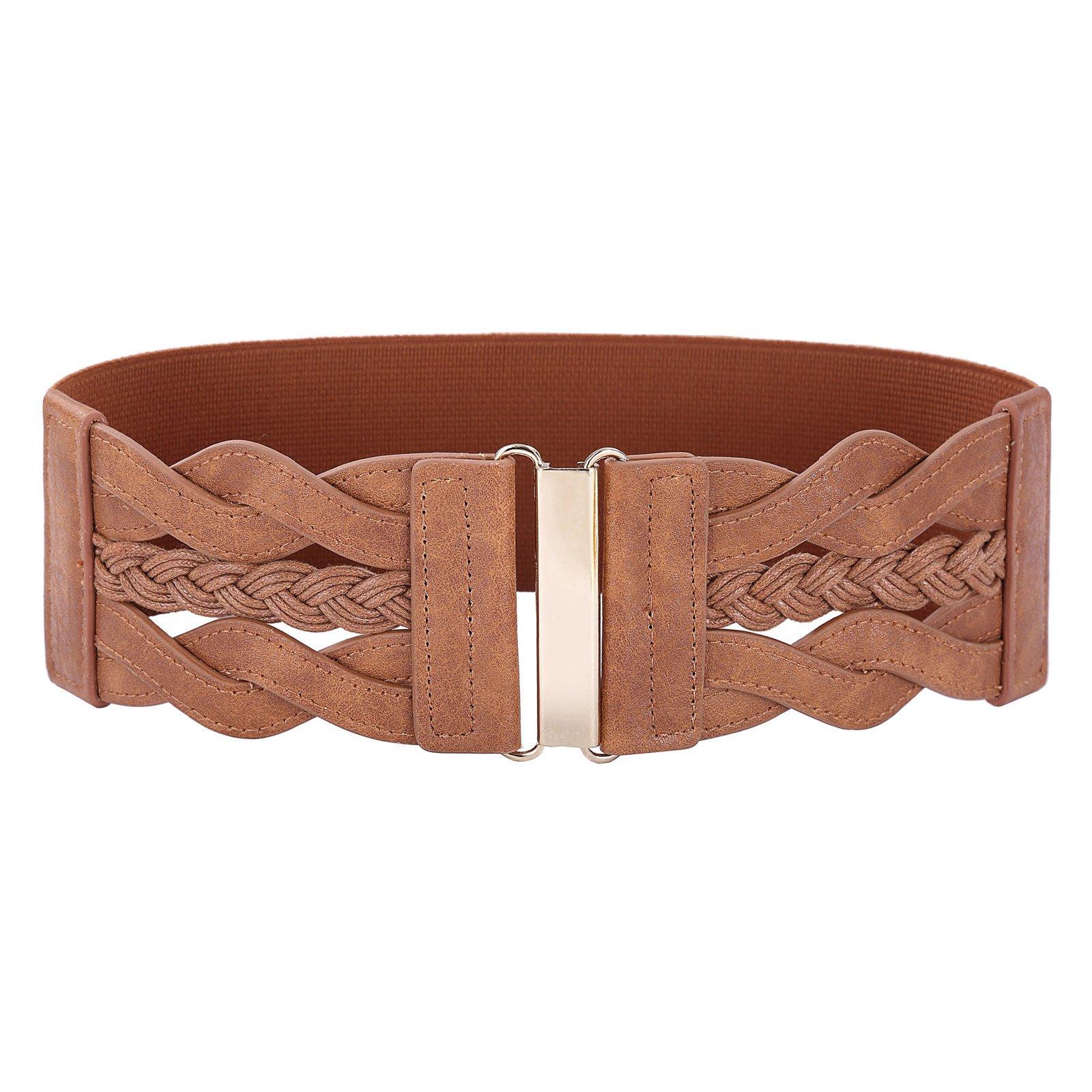 Vintage Leather Elastic Waist Belt Fashion Wide Belts for Women (Brown, L)