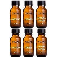 NAWAB Aroma Diffuser Oil (Lavender, Lemongrass, Rose, Jasmine, Sandalwood and Mogra), 15ml Each, Multicolour - Set of 6