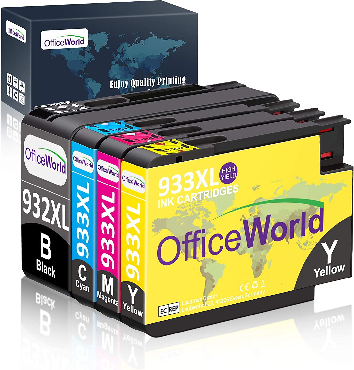 OfficeWorld Compatible Ink Cartridge Replacement for HP 932XL 933XL 932 933 Ink Cartridges (4 Packs), Work with HP Officejet 6700 6600 6100 7610 7110 7612 Printer