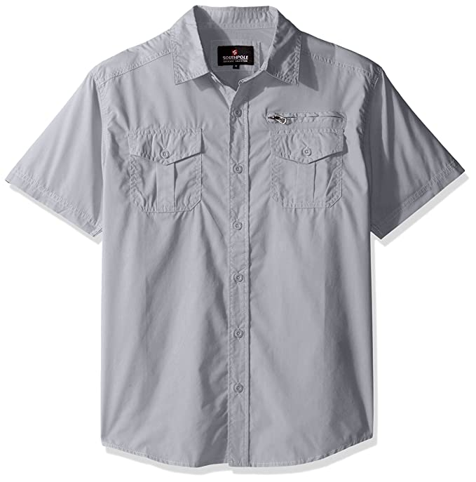 e95bd04d0b Amazon.com  Southpole Men s Short Sleeve Solid Woven Shirt with ...