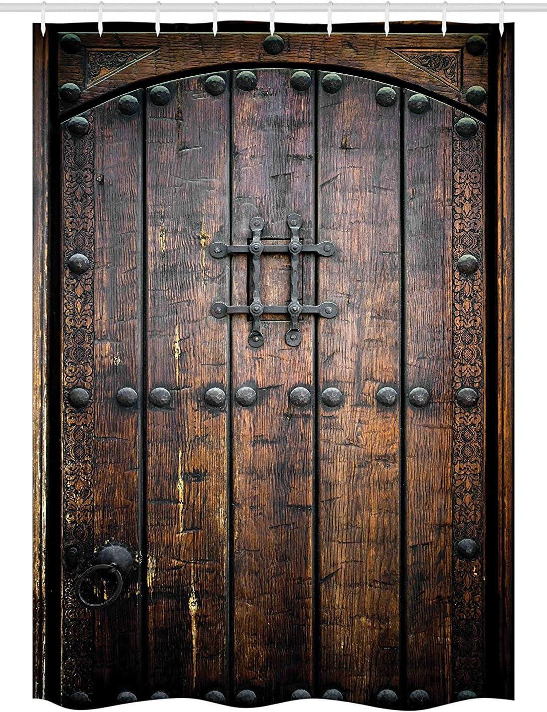 Yeuss Cortina de Ducha rústica, Puerta de Madera Antigua,histórico,Vintage,Exterior,Estructura Medieval,impresión artística: Amazon.es: Hogar