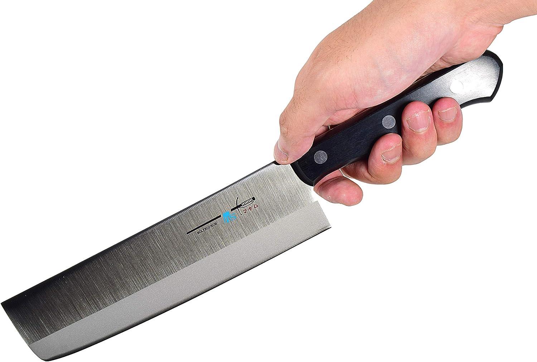7.1 inch Seki Japan Vegetable Chef Kitchen Knife Straight Edge Stamped Knife 180mm Japanese Nakiri Knife AUS-8 High Carbon Stainless Steel