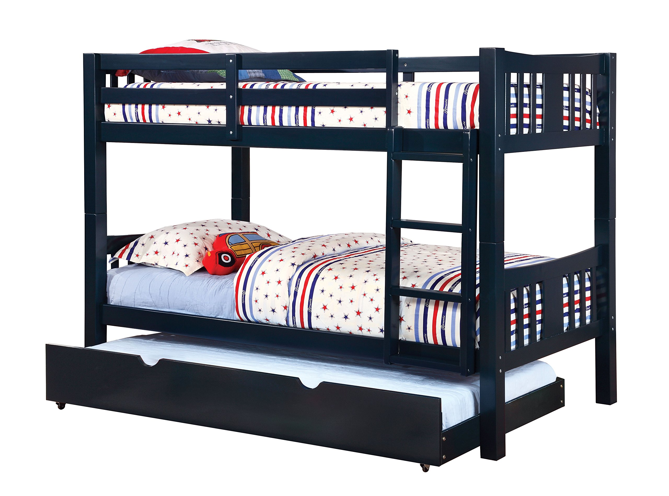 Furniture of America 2 Piece Davis Transitional Bunk Bed with Trundle Set, Twin/Twin, Blue by Furniture of America
