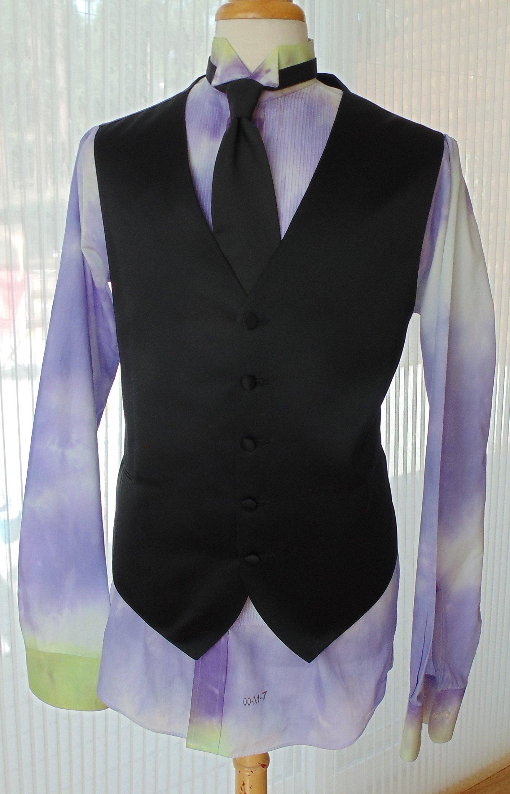 Men's M 36-37 Hand Tie Dye Tuxedo Shirt