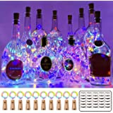 MUMUXI 10 Pack 20 LED Wine Bottle Lights with Cork, 3.3ft Silver Wire Cork Lights Battery Operated Fairy Mini String Lights f