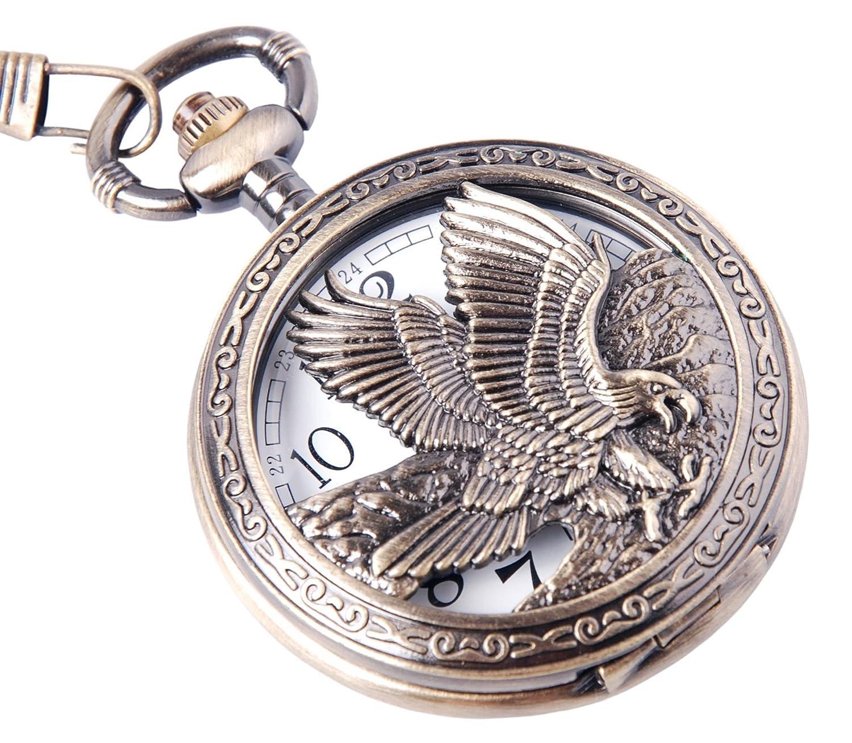 ShoppeWatch Eagle Pocket Watch and Chain Quartz Movement Arabic Numerals Half Hunter Vintage Design PW-65