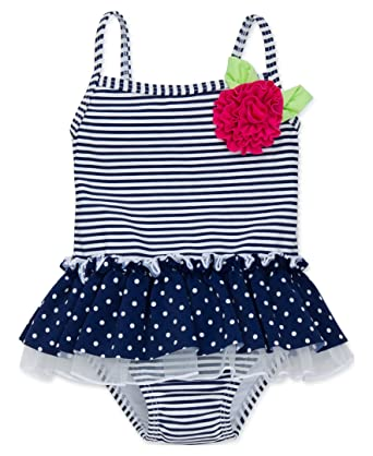 Girls' Clothing (newborn-5t) Delicious Baby Girls 6 Months Blue Pink Ruffle One Piece Bathing Swim Suit Reasonable Price