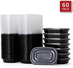 Rubbermaid 2108391 TakeAlongs Food Storage Single Base, 4 Cup, Set of 60 (120 Pieces Total) | Meal Prep Containers, Lunch for Adults & Kids, 60-Pack, Black