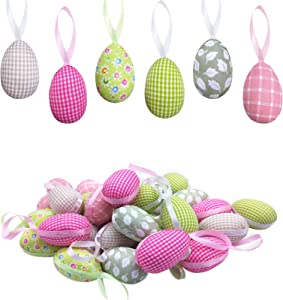 Sfcddtlg 30PCS Easter Hanging Eggs-Colorful Foam Easter Egg-Easter Tree Ornaments for Party Birthday Home Decoration Indoor Supplies