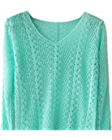 TOOGOO(R)New Candy Color Small Twist V-neck Long-sleeved Hollow Smock Women Pullover Sweater Water Blue