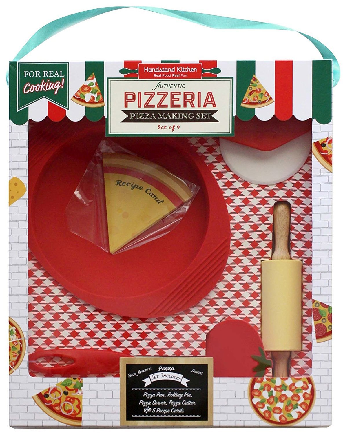 Handstand Kitchen Authentic Pizzeria 9-piece Real Pizza Making Set with Recipes for Kids Handstand Kids LLC BKS-Pizza