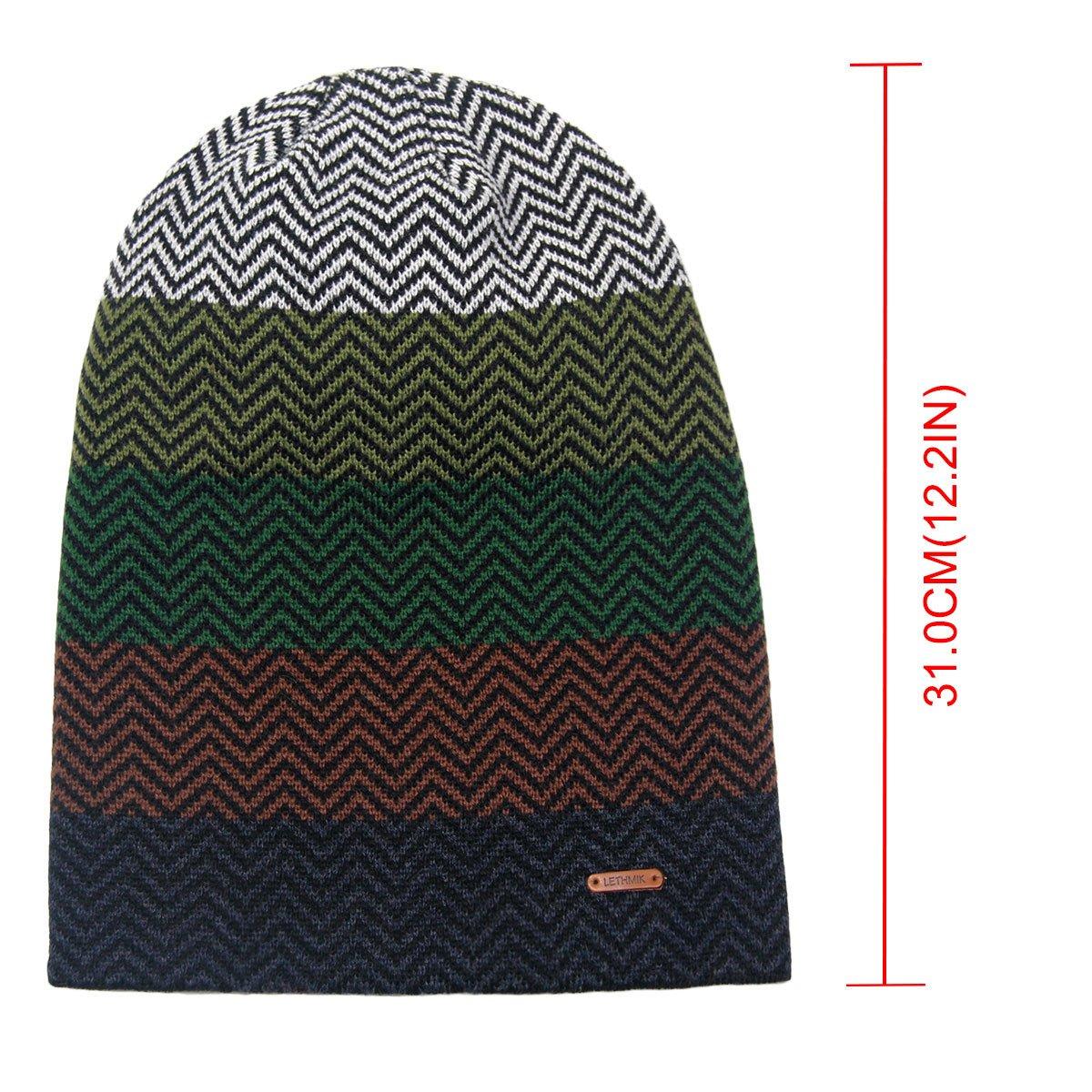 bac4007524127 LETHMIK Winter Long Slouchy Beanie Unique Mix Knit Ski Cap Hat Skully for  Men   Women Green at Amazon Men s Clothing store