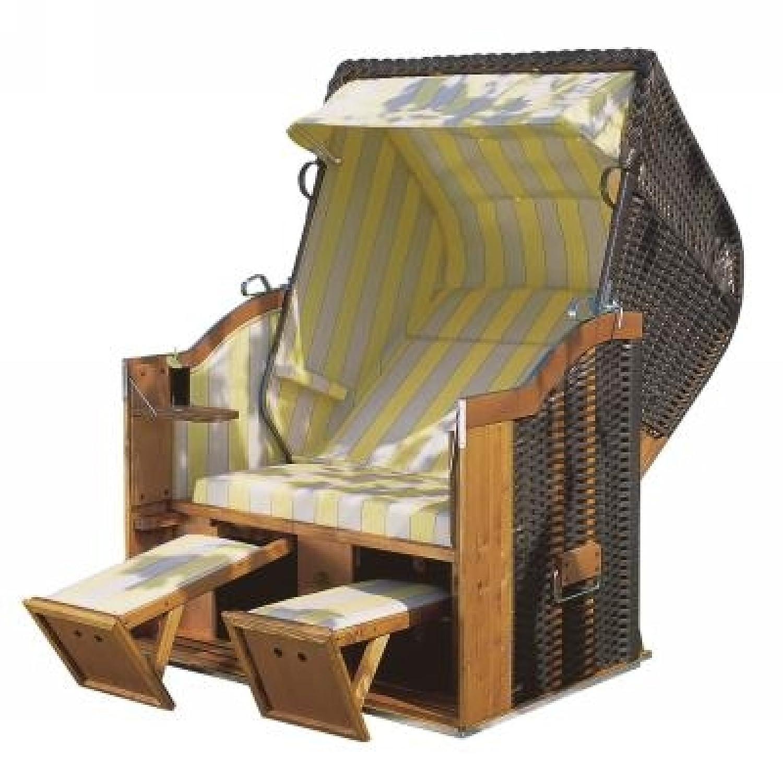 Sonnenpartner Strandkorb Classic 2 Sitzer Halbliegemodell anthrazit/gelb