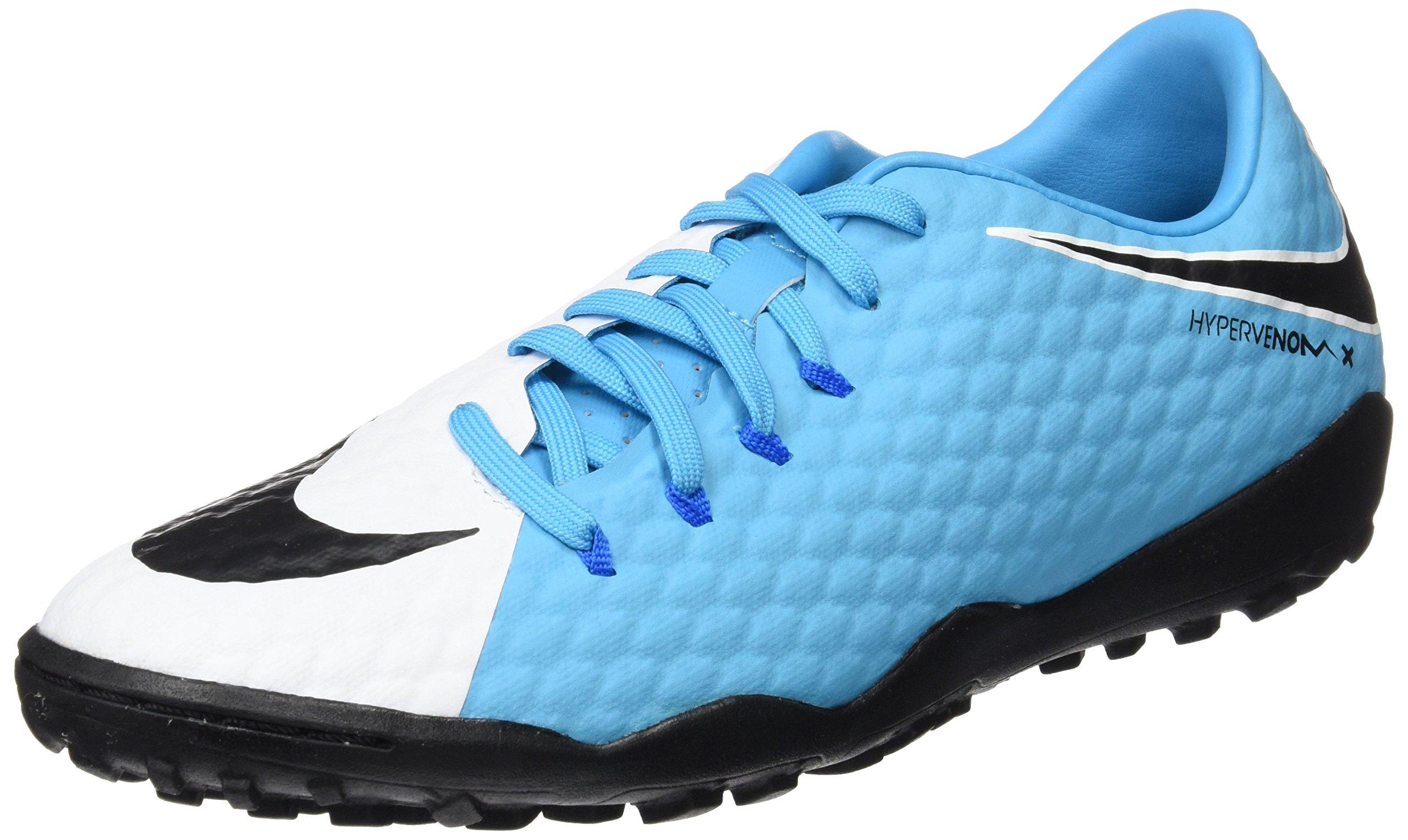 NIKE Hypervenomx Phelon III TF Mens Football Boots 852562 Soccer Cleats (US 9, White Black Photo Blue 104)