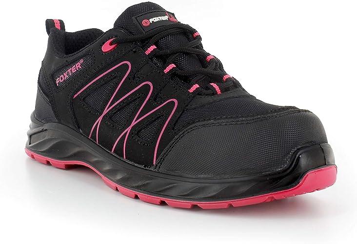 Foxter Chaussures de sécurité | Femmes | Basses | Baskets de Travail | Légères et Respirantes | sans métal | Cuir Noir | S1P SRC