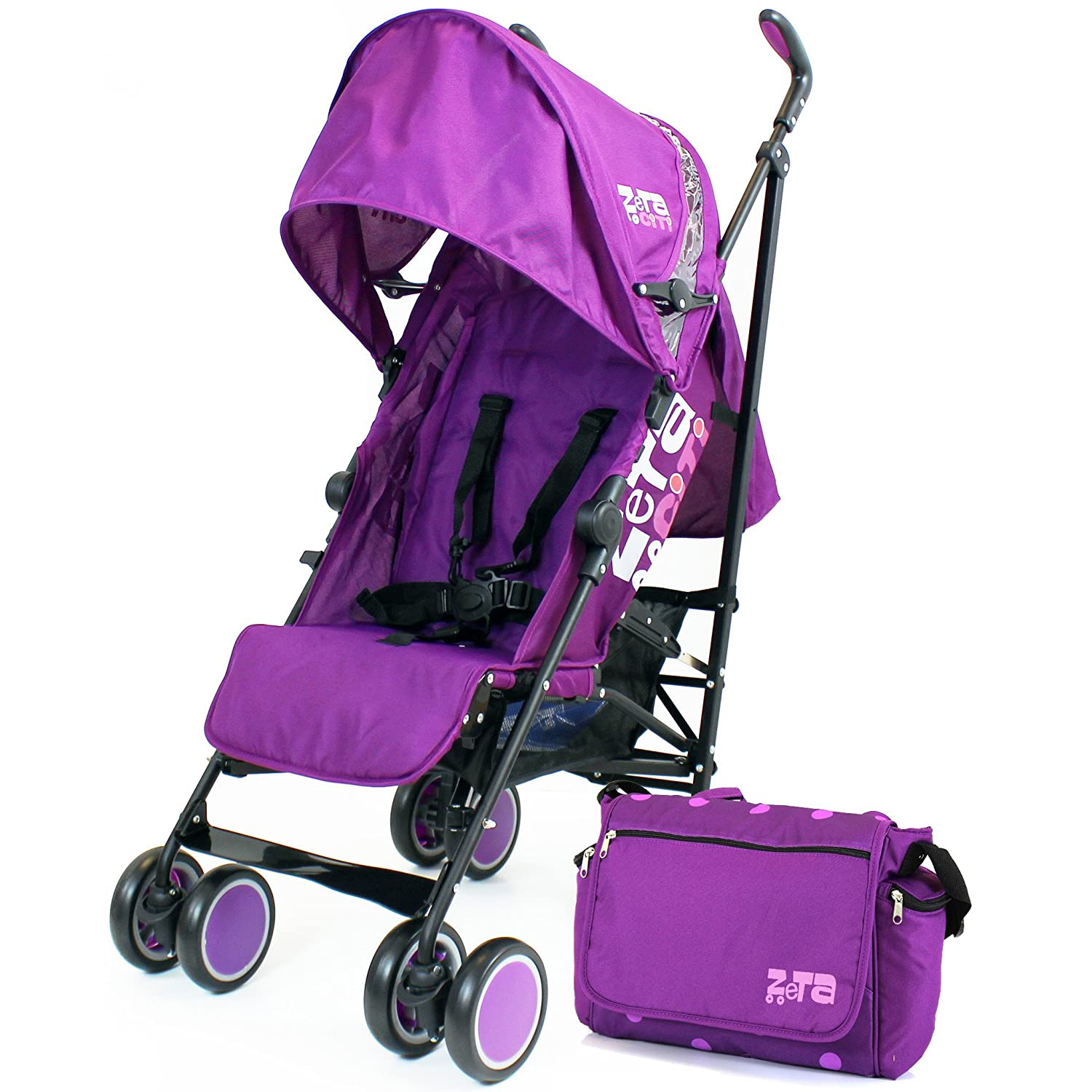 Zeta Citi Stroller Buggy Pushchair Plum Complete with Bag