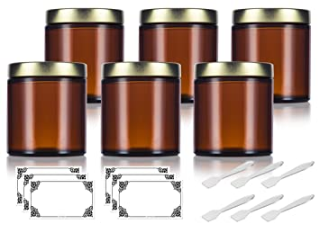5f2596fdb33a Amber Thick Glass Straight Sided Jar with Gold Metal Airtight Lid - 4 oz /  120 ml (6 pack) + Spatulas and Labels