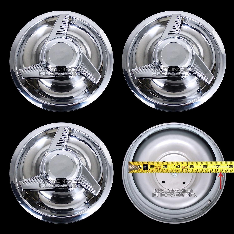 4 New Chevy GM 3 Bar Spinners Rally Wheel Center Hub Caps Rim 5 Lug Nut  Covers 14x6,14x7,15x6,15x7,15x8 RALLY WHEELS