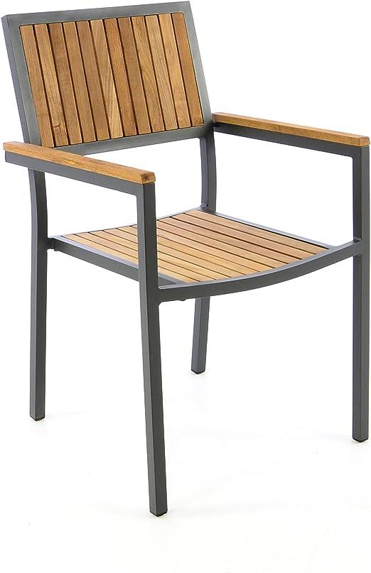 Silla de jardín silla apilable madera silla Terraza silla con reposabrazos – Madera dura aluminio – 85 x 55 x 52 cm – Fácil resistente apilable – B-Ware – Gris: Amazon.es: Jardín