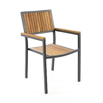 Silla de jardín silla apilable madera silla Terraza silla con ...