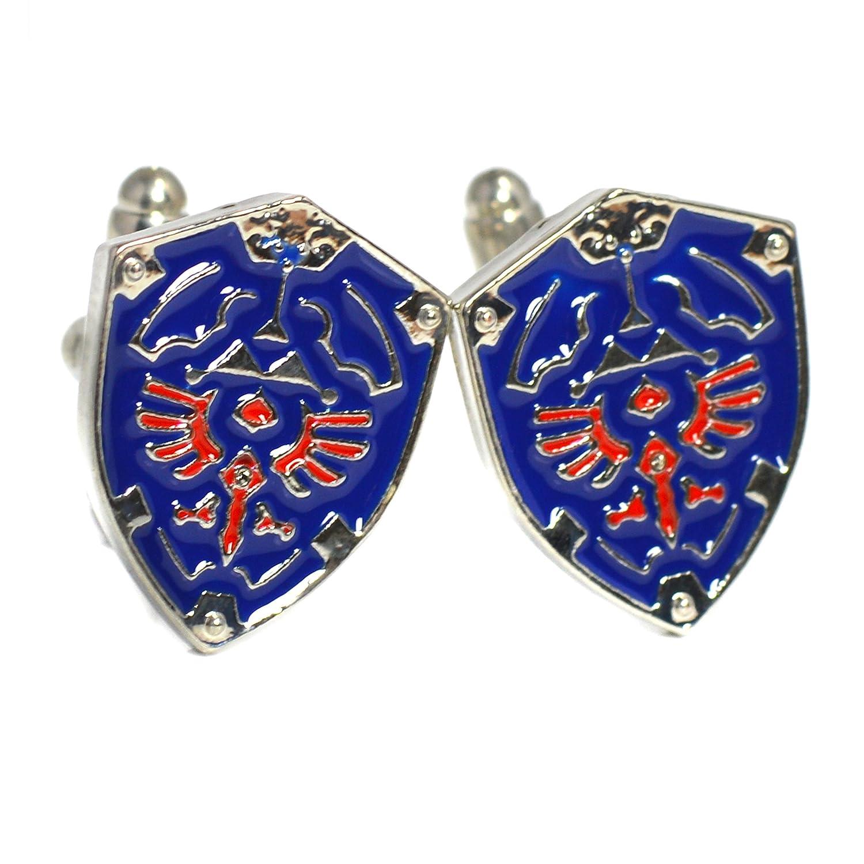 Beaux Bijoux Boutons de manchette Motif bouclier de la Triforce du jeu Legend of Zelda /Écrin cadeau inclus Bleu