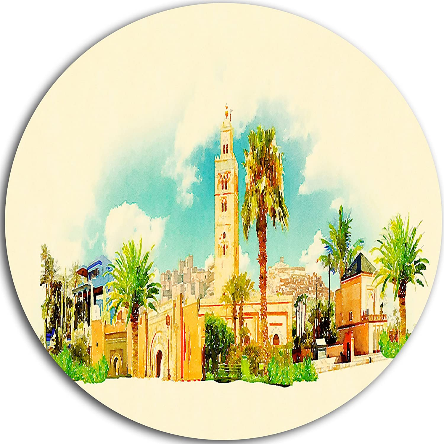 23 H x 23 W x 1 D 1P Green//Gold Cityscape Watercolor Large Disc Metal Wall Art MT7377-C23-Disc of 23 inch Designart Marakesh Panoramic View