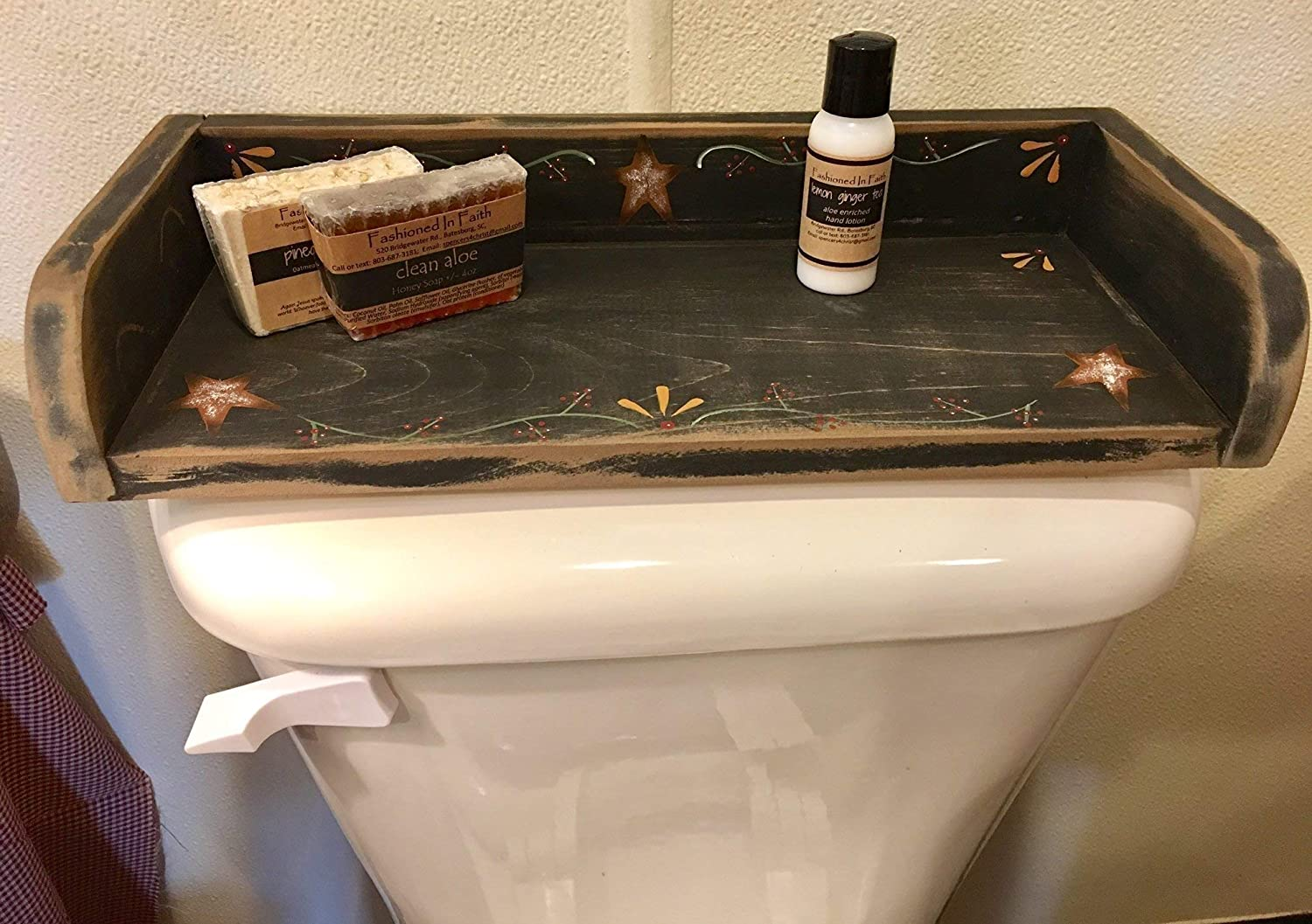 Farmhouse Hand Painted Wood Toilet Tank Tray-Distressed Rustic Handcrafted Bathroom Decor